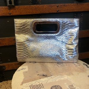 Vegan Leather Silver Snake Skin Clutch Purse